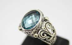 925 silver ring with blue topaz - size 62