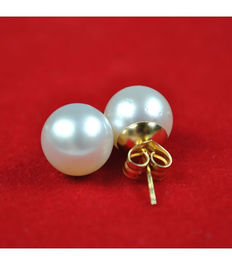 Gold earrings with Australian South Sea baroque pearls