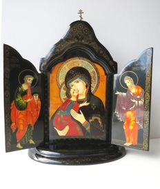 Mctepa - Handpainted lacquer Icon triptych Holy Mother of God - 20th century - Russia