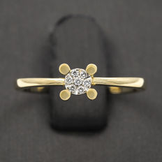 Yellow gold ring set with brilliant cut diamonds - Ring size: 12 (Spain)