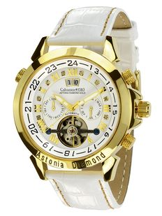 Calvaneo 1583 Astonia Snow Diamond Gold - men's watch - new