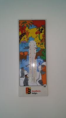 Exclusive thermometer enameled sign '90/ emaillerie belge
