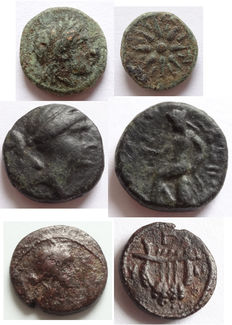Greek Antiquity – Lot of 3 x AE coins: Mysia / Gambrion, after circa 350 BC, AE 10 mm – Syria, Seleukos lll. Keraunos, AE 14 mm – Syria / Antioch, 65/66 AD, AE 11 mm