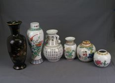 Six different porcelain vases – China – second half of the 20th century