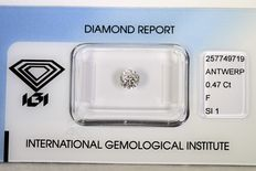 0.47 ct brilliant cut diamond –  F, SI1