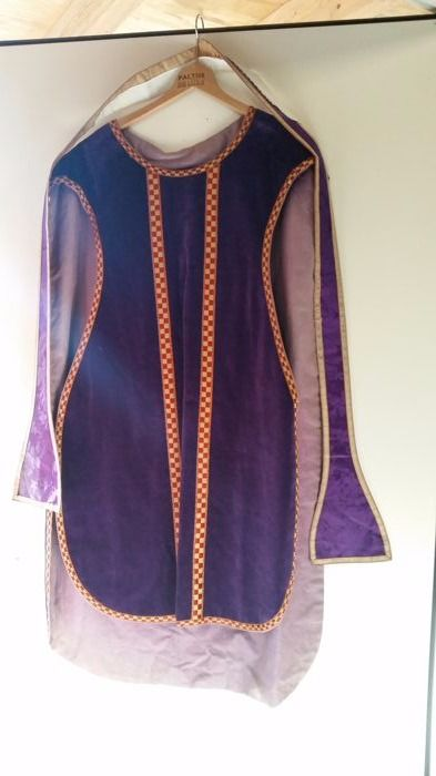 Liturgical robe with stool and graceful cross - Chasuble - 20th century