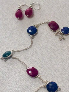925 Silver Ruby Sapphire & Emerald Necklace and Ruby Earrings