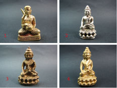 4 Buddha amulets in temple box's - Thailand - 1945, 1977 and 1993.