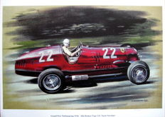 Art Print : Alfa Romeo 12 C, Tazio Nuvolari  - At full speed during German Grand Prix 1936
