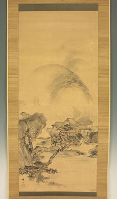 Handpainted hanging scroll signed Renzan - Japan - Late 19th century