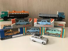 Saratov - Scale 1/43 - Lot with 8 models: 6 x Moskvitch and 2 x Kamaz trucks