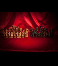 Magnificent Balinese chess pieces