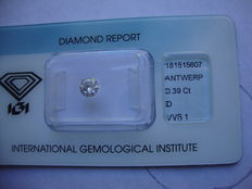 Diamante da 0,39ct taglio brillante vvs1
