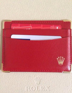 Rolex credit card holder, red leather
