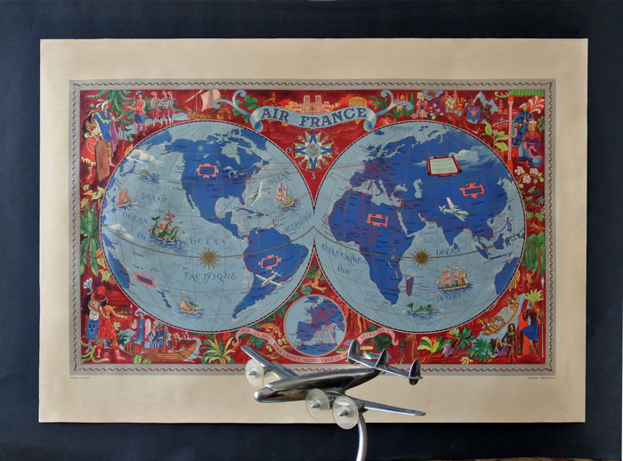 Lucien Boucher, Air France planisphere from 1952 with a vintage aluminium office model of the Constellation.