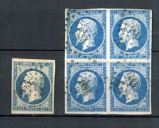 France 1852 - Napoleon including block of 4 - Yvert no. 15 and block  from no. 14