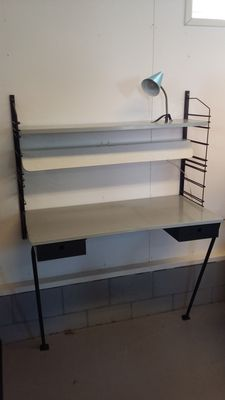 Manufacturer unknown (attributed to Drentea) - Vintage metal wall unit with desk and lamp