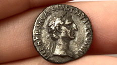 Roman Imperial - Nerva.A.D. 96-98.AR Denarius Rome mint, clasped hands; legionary standard,Prow of galley.