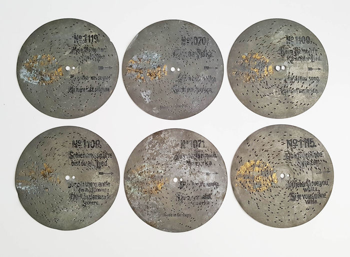 6 Adler 18 cm music box discs  - Germany -  ca 1897
