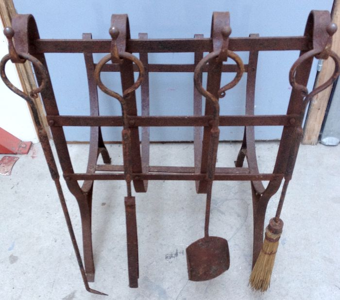 Wrought iron fire basket with four kinds of wrought-iron tools
