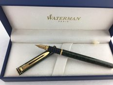 Waterman Exclusive fountain pen green marbled lacquer. 18 carat nib