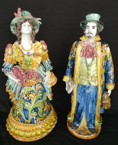 Caltagirone Ceramics - Tea light holder - Lady and Knight