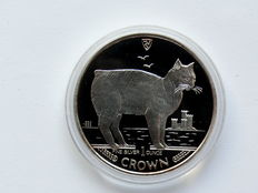 Isle of Man - 1 Crown  1988 'Katze 1988' 1 oz silber