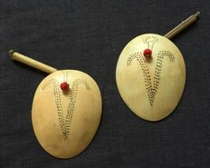 Earrings in egg shell shape from Nagaland warriors
