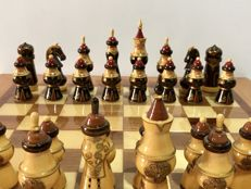 Antique majestic Russian painted chess.