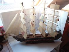 Large wooden four mast boat frigate;