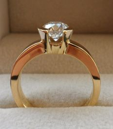 1.00 Carat IGI Certified Natural Diamond E/IF Round Brilliant in Ring of 18K/750 Yellow Gold - Ring Size 17.5/55/7.5 (US)