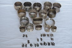 Lot of 17 silver napkin rings - Germany and the Netherlands