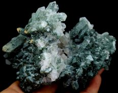 Damage Free & Double Terminated Green Chlorite included Quartz Crystal Cluster - 106 x 92 x 58 mm - 310gm