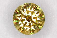 0.24 ct brilliant cut diamond –  Fancy Light Yellowish Orange – SI2