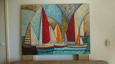 Large (XL) oil painting of sailing boats, signed Savana
