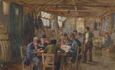 E. Fullo (20th century) - Prisoners at WW1 Knockaloe Internment Camp, Isle Of Man.