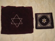 Judaica; Phylacteries Teffilin set & Tallit with embroidery bags - probably Israel - 20th century