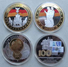 Collection of 4 giant medals - Germany 2011 + 2013 - silver-plated with gold application and colour print