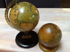 2 Antique pewter Globes; Chein / Reliable