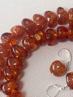 """Copal Amber Necklace 24"""" long with matching 925 Eat Pendants"""