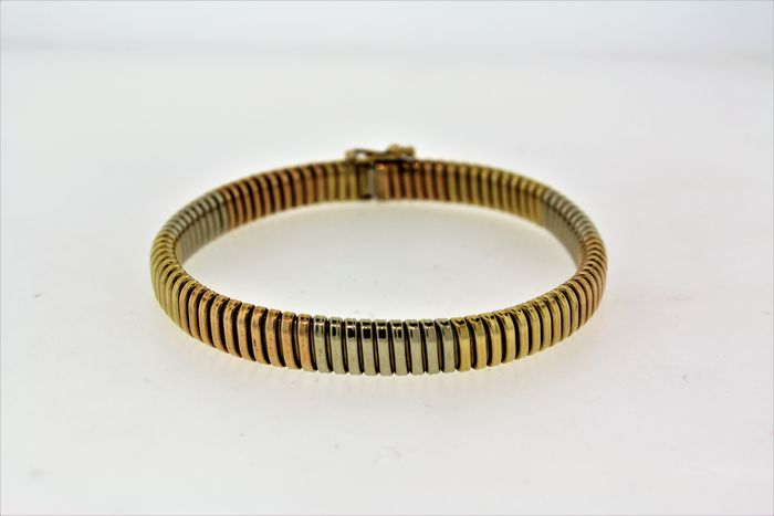 3 colored 14k gold bracelet - 7 inches
