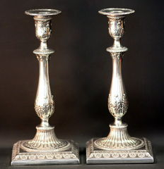 Pair of Filled Sterling Silver Candlesticks, London 1776, Possibly Robert Makepeace & Richard Carter & IC