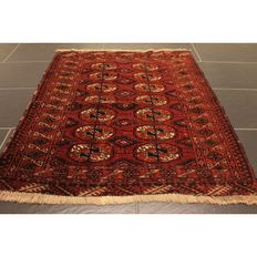 Beautiful Art Deco Yomut Bukhara USSR, oriental carpet, wool on wool, circa 1930, made in USSR, 120 x 80 cm, rug