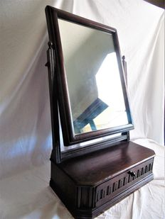 Oak dressing table mirror with drawer, early 20th century