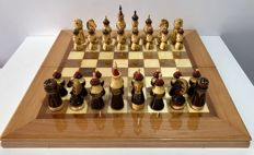 Antique large Russian painted chess.