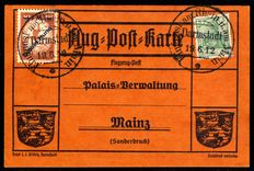 "German Reich 1912 - ""airmail on the Rhine and Main 1 M on 10 Pfg with yellow dog overprint"", Michel IV"