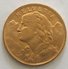 Switzerland - 20 francs 1910 B Vreneli - gold