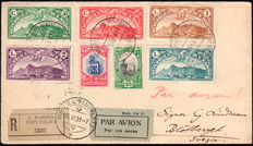 San Marino, 1931 – Air mail panoramas + 'Palazzo Consiglio' (Council building) – Registered air mail to Sweden.