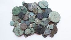Roman Empire – lot of 100 Roman AE coins, not cleaned, various emperors.