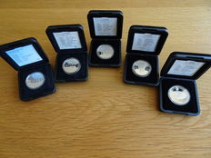 The Netherlands – 10 guilders, 1994/1999, Beatrix (5 different coins) complete